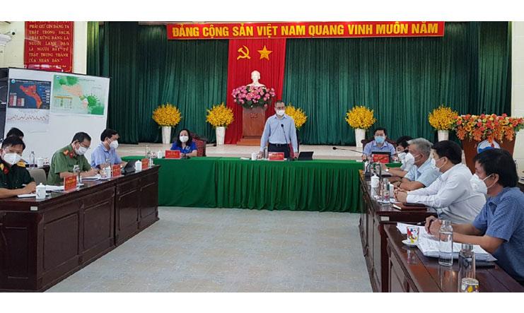 Đồng chí Phạm Đại Dương phát biểu chỉ đạo tại buổi làm việc. Ảnh: NGÔ XUÂN