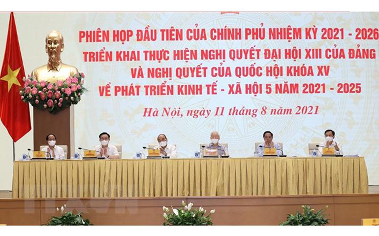 Tổng Bí thư Nguyễn Phú Trọng, Chủ tịch nước Nguyễn Xuân Phúc, Thủ tướng Phạm Minh Chính, Chủ tịch Quốc hội Vương Đình Huệ tham dự Phiên họp. Ảnh: TTXVN