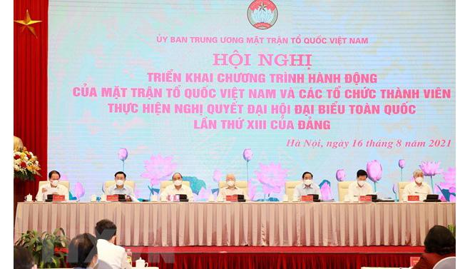 Đoàn Chủ tọa hội nghị trực tuyến toàn quốc triển khai chương trình hành động của MTTQ Việt Nam và các tổ chức thành viên thực hiện Nghị quyết Đại hội đại biểu toàn quốc lần thứ XIII của Đảng. Ảnh: TTXVN